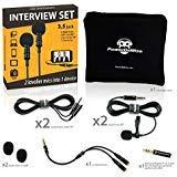 2 Lavalier Lapel Microphones Set for Dual Interview - Dual Lavalier Microphone - Lavalier Microphone Set -...