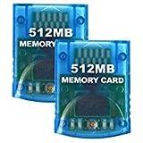 Aoyoho Lot de 2mémoire Flash 512Mo Jeu de Carte mémoire Compatible pour Wii et Gamecube