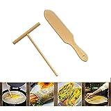 Crêpière en bois Set de spatule en bois | Taille parfaite pour s'adapter à la crêpière moyenne | Éponge...