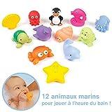 LUDI - 12 animaux marins en plastique pour jouer dans le bain. Dès 6 mois. Animaux arroseurs rigolos. Sac de...