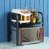 Cadre à Mur Four à Micro-Ondes Rack Kitchen Storage Bracket Home Double Couche de métal étagère en Bois C...