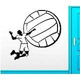 58 * 56cm Papier Peint Décalque De Vinyle De Volley-Ball Jeu Sportif Balle Athlètes Athlètes Saut...