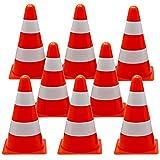 12 Cônes de Signalisation d'Entraînement, 23cm - Orange & Blanc - Cônes de Circulation, Plot pour Enfants,...