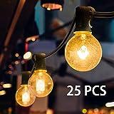 Mture Guirlande Lumineuse, Guirlande Guinguette Raccordable avec 25 Ampoule Blanc Chaud G40 Lampes Cordes,...