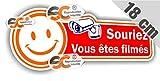 Sticker Autocollant Souriez Vous êtes filmés 18cm / 7cm
