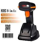 Tera Scanner de codes à barres sans fil 2D&1D avec Récepteur de Charge 3 en 1 Douchette Laser Lecteur 500...