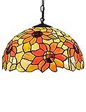 KCoob Lustre Lampe Médaillon Floral Orange Tournesol Demi-Boule Couverture De La Lampe Décoration pour Salon...