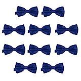 DonDon Lot de 10 Noeud papillon pour homme 12 x 6 cm avec crochet déjà lié et réglable – Bleu foncé