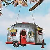 Camper Birdhouse Trailer Bird House Airstream style Rv Home Decor Yard Garden Porch Patio Country Garden,...