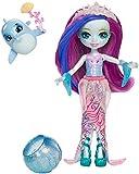 Enchantimals Mini-poupée Dolce Dauphin et Figurine Animale Largo, aux cheveux magiques violet et bleu qui...