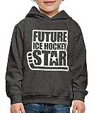Spreadshirt Hockey sur Glace Future Star Pull à Capuche Premium Enfant, 98/104 (3-4 Ans), Charbon