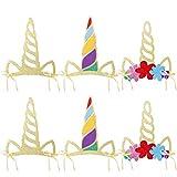 912 Pièces Licorne Thème Fête Corne de Licorne Chapeaux Chapeaux d'anniversaire Brillant Corne de Licorne...