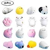 Yakiki 16 Pcs Mixed Mini Soft Squishy Toys Mignon Mochi Squishy Soft Cat Squeeze Guérison Fun Toys Enfants...