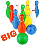 jerryvon Jeu de Quilles Bowling de la Jungle Enfant Skittles Jeu de Jardin Plein Air pour Garcon 3 Ans