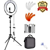 SAMTIAN Caméra Photo Vidéo Eclairage Kit: 14 Pouces Extérieur 45W 5500K Réglable LED Lumière Anneau,...
