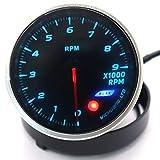 HERCHR Tachymètre 12 V pour rétro-éclairage 64 couleurs Réglable 0~9000 tr/min Noir