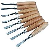 Lot d'outils de ciseaux à bois pour sculpture, bricolage, création, art, usage professionnel - 8pièces de...