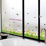 BZQTHXK Herbe Fleur Chambre Salon Pépinière Meubles Fenêtre Amovible Autocollant en Vinyle Stickers Muraux...