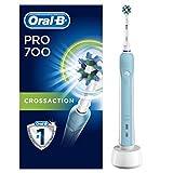 Oral-B PRO 700 CrossAction Brosse à Dents Électrique Rechargeable par Bleu, 1 Manche, 1 Brossette