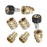 8 Pcs Durable Coupleur Rapide Mâle Socket Kit, Portable Pas de Fuite Coupleur Rapide Plug Laveuse à Pression...