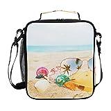 Sac à bandoulière isolé Tote Bag Sac à main pour hommes et femmes Coquille Lunettes Sand Beach