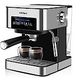 Machine à Café Espresso Cafetiere Italienne Automatique 15 Bars avec Mousseur à Lait pour Espresso...