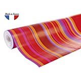 Clairefontaine 211202C Rouleau papier cadeau Alliance 60g 50x0,70m Motif Rayures rouge/orange/rose