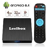 Leelbox TV Box Android 8.1【4GB+32GB】 Q4s Boîtier TV RK3328 Quad Core 64 bit Smart TV Box, Wi-FI...