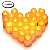 24 lumières de bougie, Lunsy lumières de thé sans flammes blanches et chaudes de LED, lumières de bougie...
