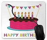 Tapis de Souris Gaming Lettrage coloré Joyeux Anniversaire avec gâteau glacé et Bougies Faisant Un thème...
