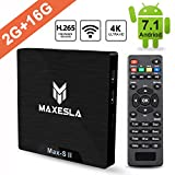 Android TV Box 2018 Dernière - Maxesla Max-S II Android 7.1 Système, 2GB RAM + 16GB eMMC, Quad Core 64Bits...