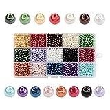 PandaHall - 3600 Pcs 15 Couleurs Perle en Verre Perles Rondes Perles Nacrées Teint pour DIY Fabrication de...