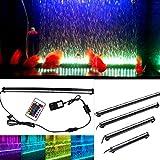 Kit d'éclairage LED pour aquarium avec bulles, Underwater Air Rideau lumineux pour Fish Tank, Changement de...