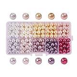 PandaHall Elite - Lot de 230pcs 10 Couleurs Perle en Verre Perle Rond Perles Lisses en Satin Minuscules pour...