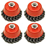 Huiiv Fil Coupe Brosse Roue 3'pour 41/2' 115mm Angle Grinder Twist Noeud 4 Pack