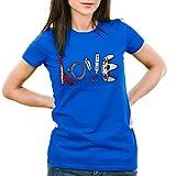 style3 Love Jeu T-Shirt Femme Super Console Kart NES Snes Zelda Mario Sonic wii, Couleur:Bleu;Taille:XS