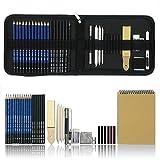 36 PCS Set d'art de Crayons Fusain Pour Dessin et croquis, Materiel Dessin Professionnel Gommes à effacer et...