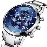 Montre, Montre pour hommes, Affaires de luxe Acier inoxydable Bleu Haute qualité Mode Casual Montre à quartz...