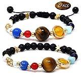 Joinfun Lot de 2 bracelets solaires avec diffuseur de pierres de lave et boîte à bijoux pour femmes et...
