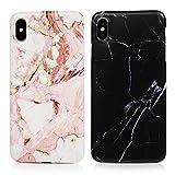 2x Coque pour iPhone XS Max 6.5 inch, Etui Silicone Marbre IMD TPU Mince Léger Souple Cover Protecteur Case -...