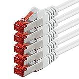 1aTTack Lot de 5câbles de raccordement réseau catégorie6 SSTP PIMF avec 2connecteursRJ45 double...