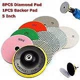 KUNSE 8Pcs 4 inch 30-3000 Grit Diamond Tampons De Polissage avec Garniture De Ciment pour Marbre De Granit en...