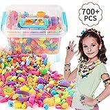 EXTSUD Lot de 700 Perles Enfants Bricolage Plastique Coloré kit de Loisirs Créatifs pour Faire des Colliers...