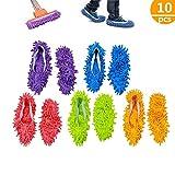 chaussons mop,5 Paires Multifonction Microfibre Poussière Mop Chaussures Chaussons De Nettoyage Pour La...