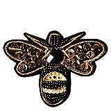 Kentop Patch Broderie Ecusson à Coudre Sticker Forme de Abeille Strass Appliqué Patch écusson décoratifs...