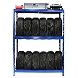 Rayonnage pour pneus | HxLxP 180 x 130 x 50 cm | Jusqu'à 12 pneus | Avec étagère - Etagère pour...