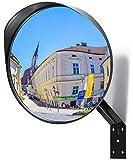 Miroir convexe Premium - Miroir de sécurité incurvé réglable de 30 cm pour l'intérieur et l'extérieur -...