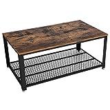 VASAGLE Table Basse Vintage, Table de Salon, Bout de canapé, avec Grand Plateau, Pieds réglables, Protection...