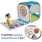 LUDI - Aire de jeu Multisports en tissu et structure pop-up. Dès 3 ans. Livré avec accessoires de sport. Se...