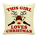 Photno couvertures de taie d'oreiller de Noël en coton et lin Housse de coussin Throw Taille Taie d'oreiller...